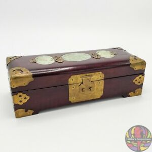 Antique Chinese Rosewood Jewelry Box W Jade Inlay And Brass Fittings