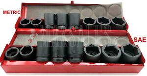 New 18pc 3 4 Drive Air Impact Cr V Steel Socket Metric Sae Set W Metal Case