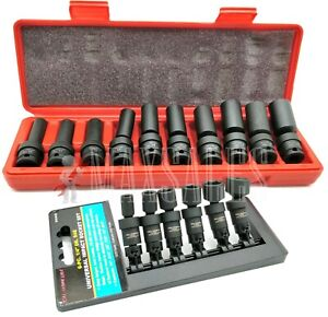 16 Pc 3 8 1 4 Dr Universal Swivel Deep Impact Socket Set Metric Sae Set