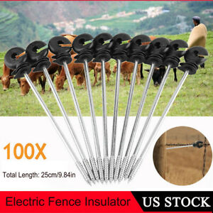100x Screw In Offset Electric Fence Wood Post Ring Insulators Tape Cord Wire Us