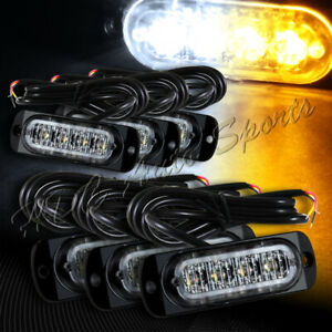 24 Led White amber Car Emergency Beacon Warn Hazard Flash Strobe Light Universal
