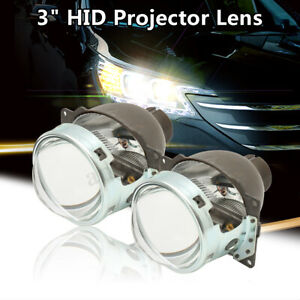 2pc 3 Q5 H4 Bi Xenon Car Hid Headlight Fog Light Projector Lens Kit Hi Lo