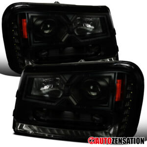 For 2002 2009 Chevy Trailblazer Black Smoke Projector Headlights Led Drl Strip