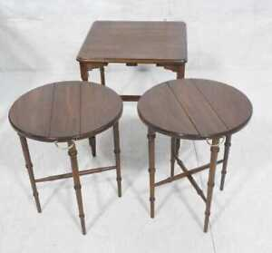 Vtg Harden Traditional Cherry Faux Bamboo Nesting Drop Leaf Tables Pls Rd Dtls