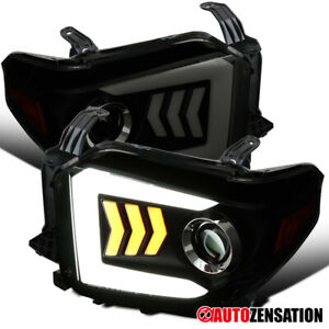 For 2014 2020 Toyota Tundra Black Smoke Projector Headlights Led Sequential Bar