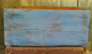 Primitive Wood Wooden Crate W Blue Paint Functional Farmhouse Storage Decor