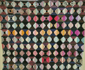 2520 Hand Done Pieces Silk Light And Dark Log Cabin Quilt C 1850s