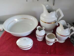 6 Piece Victorian Pitcher And Bowl Set White With Gold Stripe