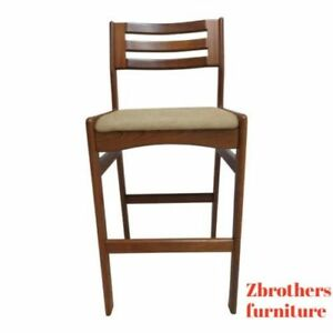 Danish Modern Teak Ladder Back Bar Counter Stools Mid Century