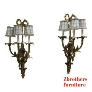 Pair Of Vintage Louis Xv Bronze Candelabra Wall Sconces