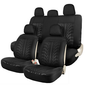 Black Car Seat Covers Full Set Universal Sideless Front Rear Seat Cover