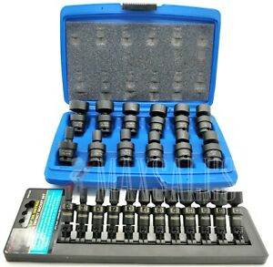 24 Pc 3 8 1 4 Dr Shallow Universal Impact Ball Swivel Socket Sae mm Set