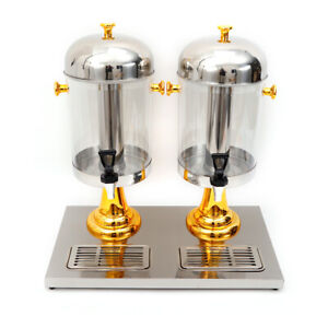 Stainless Steel Drink Juice Double Beverage Dispenser With Recessed Drip Tray Us