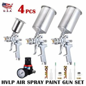 4pcs Spray Tool Kit Hvlp Gravity Feed 3 Tool Air Gauge 0 8mm 1 4mm 1 7mm Us