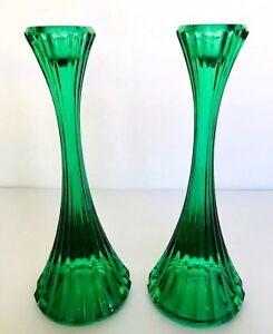 Antique Pair Green Molded Fluted Glass Candlesticks 8 Tall Hollywood Regency
