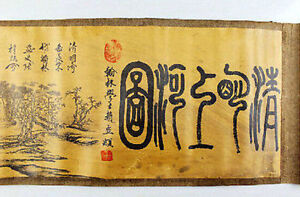 Ancient Picture Silk Paper Riverside Figure Scroll Painting