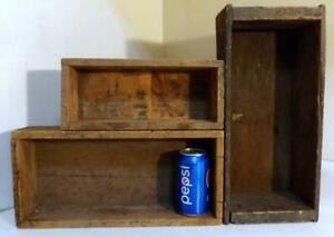 3 Small Antique Vtg Rustic Wooden Shipping Boxes Use For Country Display