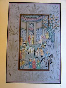 Vintage Persian Miniature Hand Painting On Silk Shashi Arts Crafts Jaipur India