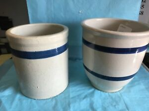 Two Crock Bowls With Blue Stripes One Old One Newer Pa G