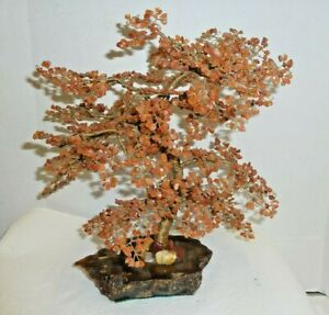 Antique Carnelian Agate Bonsai Tree With Base Healing Stones