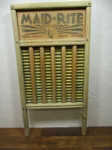 Vintage Old Antique Maid Rite Family Size Wooden Brass Washboard