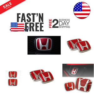 Red Honda Emblem Jdm Style Type R Civic Acura Integra Rsx Accord For 1988 2000