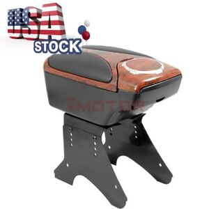 Us Walnut Wood Front Leather Console Armrest Box Cup Holder Fit Universal Car 7m