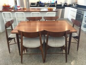 7pc Vintage Mid Century Expandable Dining Set