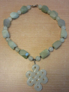 Vintage Green Jade Beaded Pendant Necklace 16 Sterling Clasp