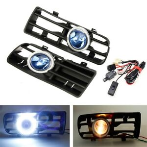 Front Bumper Grille Grill Fog Light Angel Eyes Lamp Harness For Vw Golf 98 04