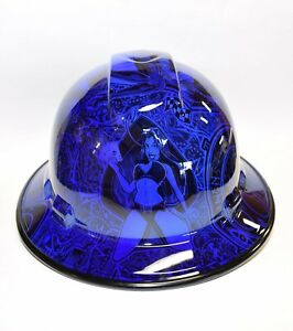 Custom Wide Brim Hard Hat Hydro Dipped In Candy Blue Devils Divas Bg