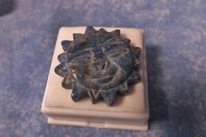 Antique Chinese Carved Lapis Lazuli Pendant Disk Happy Sun Face