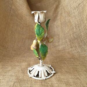 Vintage Tole Metal Candle Holder Pear Fruit Garden Table Chippy Italy Italian