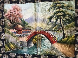 Antique 19th Century Japanese Chinese Landscape Embroidery Panel