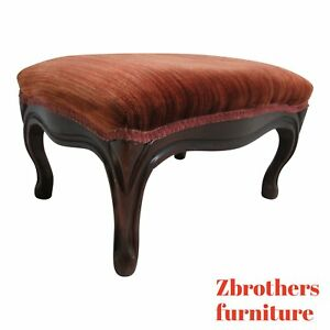 Antique Victorian Carved Love Seat Sofa Couch Settee Foot Stool Bench