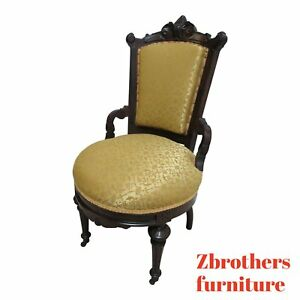 Antique Victorian East Lake Carved Dining Room Side Desk Chair B