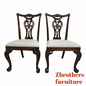 Pair Pennsylvania House Ball Claw Chippendale Dining Room Side Chairs C