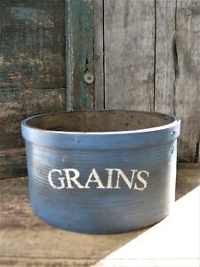 Lg Antique Wood Dry Measure Blue Milk Paint Grains Stencil