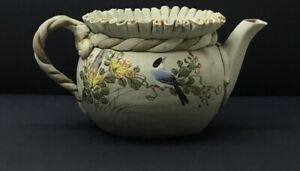 Antique Japanese Banko Pottery Teapot Hand Painted Ruffled Top No Lid Bird