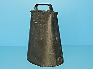 Antique 1800 S Cow Bell Hand Forged Folded Metal W Rivets Original Iron Clapper
