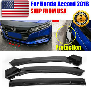 3pcs Glossy Black Front Bumper Chin Lip Spoiler Protection For Honda Accord 2018
