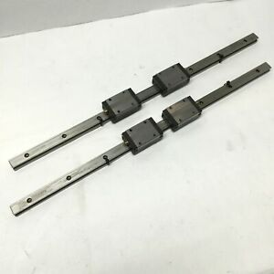 Lot Of 2 Thk Ssr15 Linear Ball Bearing Block Carriage Slides On 470mm Guide Rail
