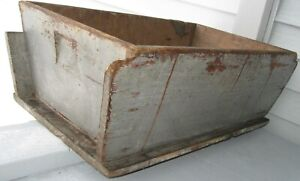 Spectacular Antique Wood Dough Box Old Blue Grey Paint Square Nails Tin Repair