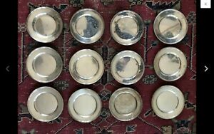 12 Sterling Silver Bread Plates 6 Monogrammed
