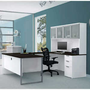 Theory U desk With Hutch Contemporary Home office Furniture White Finish