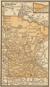 1888 Antique Minnesota State Map Rare Size Miniature Map Of Minnesota 6404