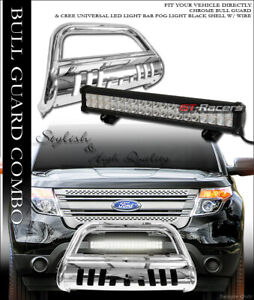 S S Chrome Hd Bull Bar Bumper Guard 120w Cree Led Light For 11 18 Ford Explorer