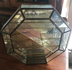Vintage Leaded Glass Octagon Curio Case