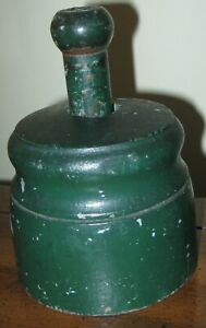 Antique Wooden Lg Rose Butter Stamp Press In Old Green Paint Over Grey