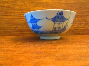 Late 18th Century Chinese Blue White Canton Export Porcelain Bowl